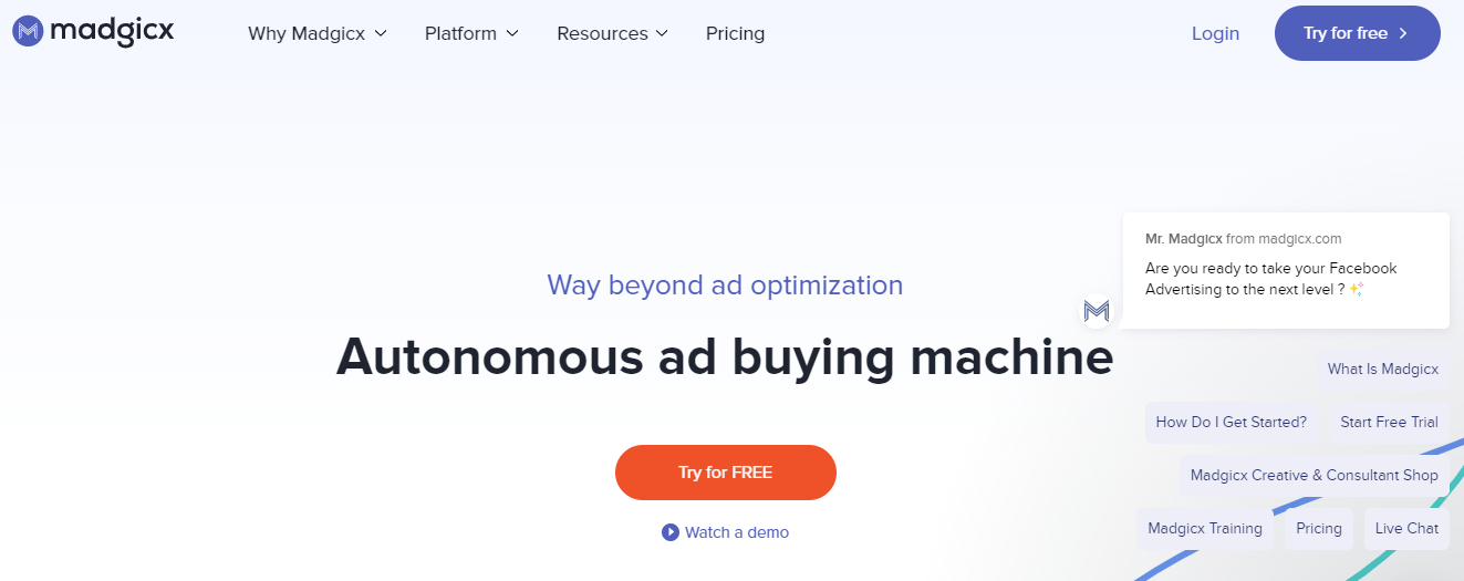 Madgicx is an AI-based Facebook ad campaign manager.