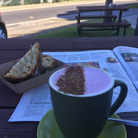 Beetroot Chai by Dawn Simpson - Food & Drink Alcohol & Drinks ( cafe, paper, moruya heads, beetroot chai, toastie )