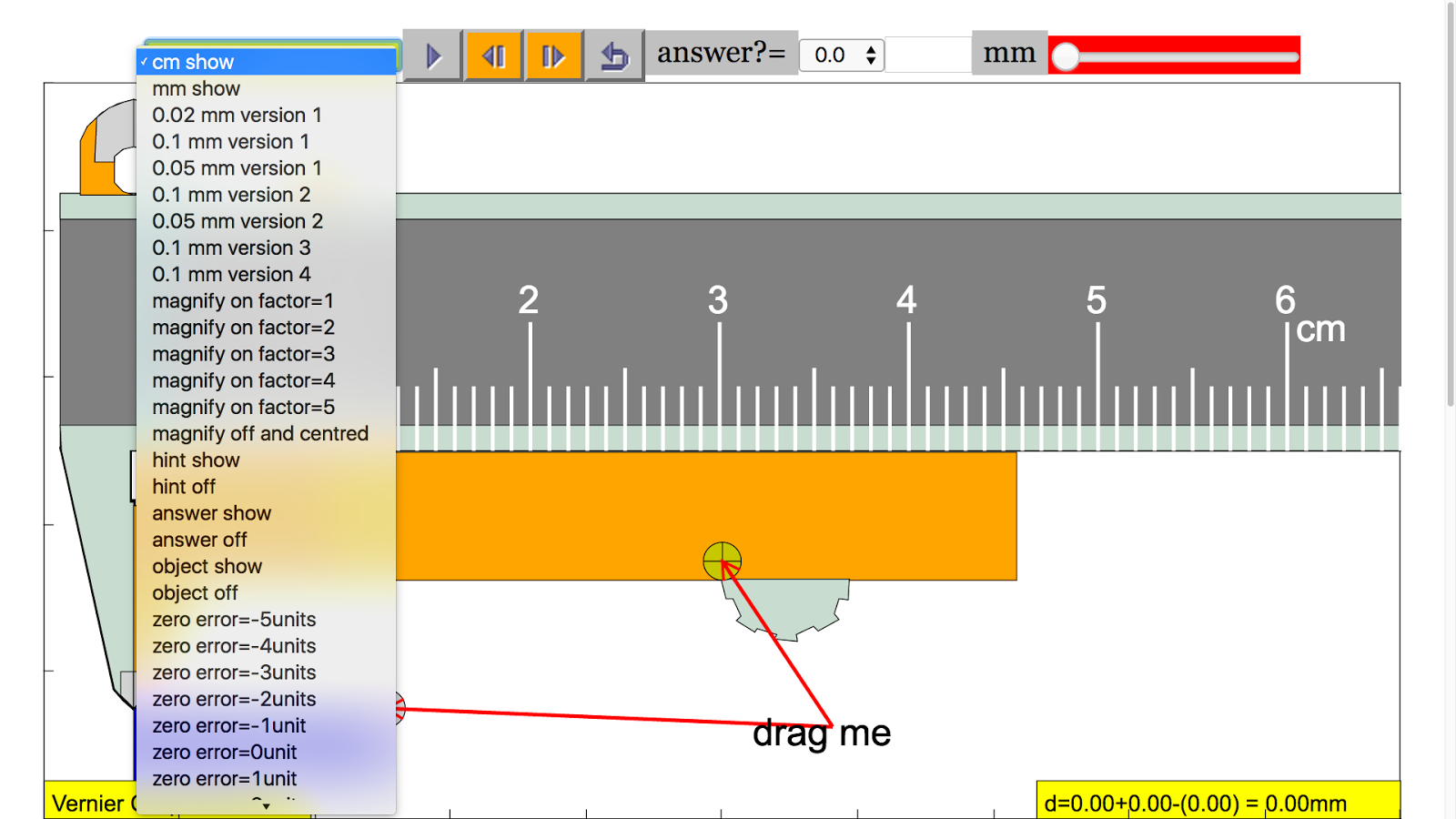 Vernier Calipers Simulator- screenshot
