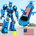 Flying Limo Robot Car Transform: Police Robot Game icon