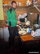 Photo: Matt, sauteeing mushrooms for pasta