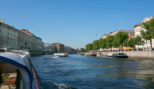 Here's what you'd see from the front seat of a canal cruise  in St. Petersburg, Russia.