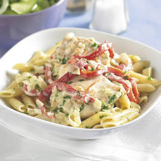 Chicken and Pasta with Creamy Pepper Sauce.