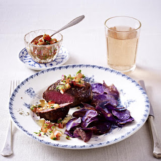 Beef Tenderloin with Blue Potato Chips and Tomato Salsa