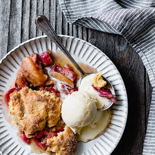 Maple-Sweetened Apple Rhubarb Cobbler with Oat Flour Biscuits {gluten-free}.