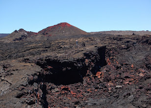 Photo: A large lava channel issues from Steaming Cone.