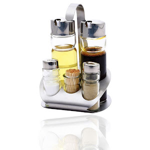 Set oliviera 6 piese, sticla, otel inoxidabil
