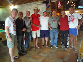 Photo: Day 27 Wall SD to Murdo SD 88 miles 2290' climbing: Shooting some pool at the Rusty Spur in Murdo. Tim, Third from right owner of Rusty Spur, provided us free dinner.