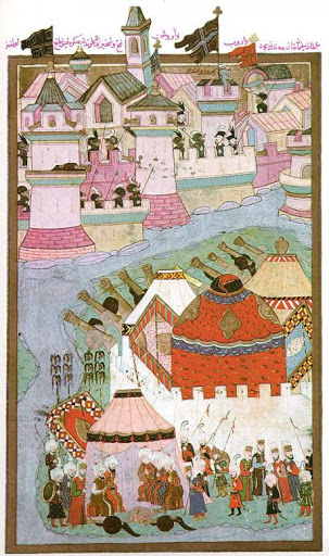 The Ottoman army besieging Vienna (1529), Hüner-nāme, Topkapi-Serail-Museum, Hazine