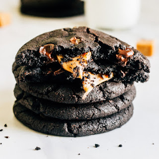 Caramel Filled Dark Chocolate Cookies