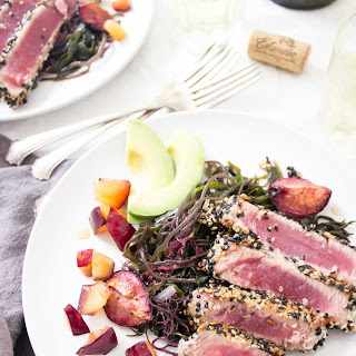 Ahi Tuna Seaweed Salad + Avocado & Roasted Plums