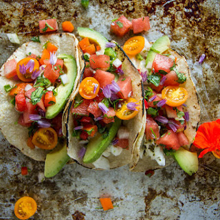 Grilled Halibut Tacos with Watermelon Salsa.