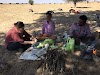 India. Rajasthan Thar Desert Camel Trek. Team work preparing lunch