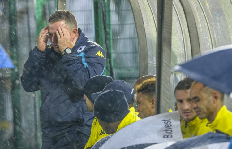 Bidvest Wits' head coach Gavin Hunt looks frustrated on the bench during a Absa Premiership match against Ajax Cape Town at Bidvest Stadium on December 06, 2017 in Johannesburg, South Africa.