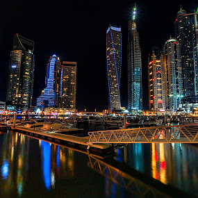 Dubai Marina by Ricky Pagador - City,  Street & Park  Skylines ( skyline, night photography, street, cityscape, nightscape, city )