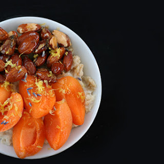 Recipe for Apricot Oatmeal with lemon lavender glazed almonds