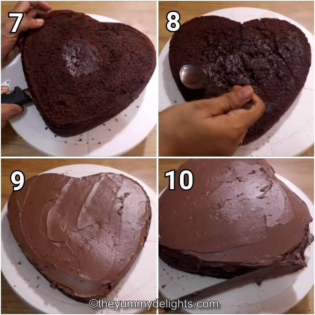 step by step image collage of applying the chocoalte ganache on the drip cake