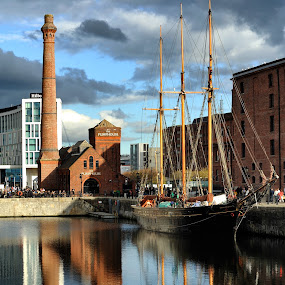 The Classic Dock by Alva Priyadipoera - City,  Street & Park  Vistas ( water, reflection, pumphouse, ship, liverpool, albert, architecture, dock )