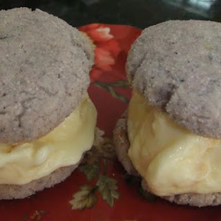 Blue Cornmeal-Basil Ice Cream Sandwiches.