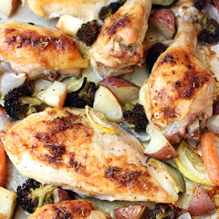One Pan Roast Chicken and Vegetables.