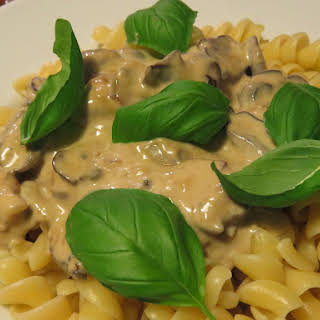 Pasta with Blue Cheese and Mushroom Sauce.