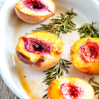 Roasted Peaches with Brown Sugar and Rosemary.