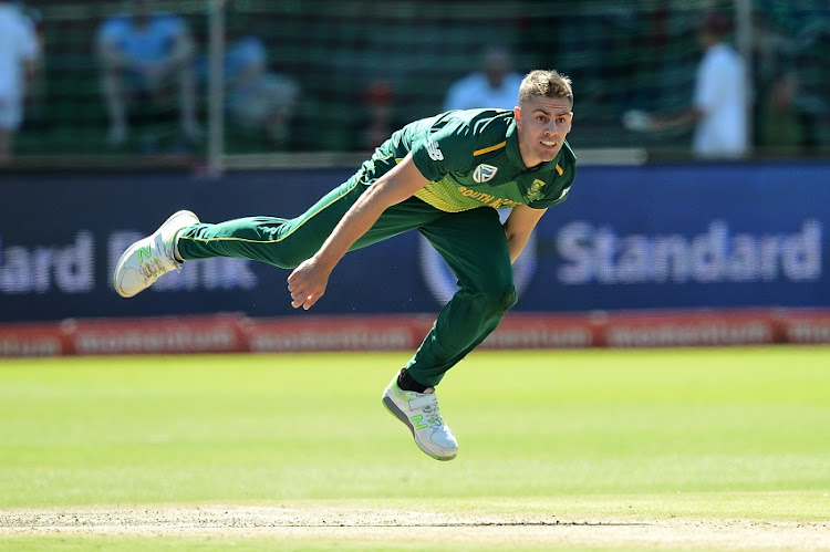 SA rising fast bowler Anrich Nortje bowls during the 4th Momentum ODI match against Sri Lanka at St George's Park in Port Elizabeth on March 13 2019.
