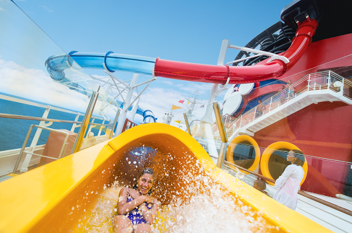 The AquaDunk waterslide on Disney Magic features a three-story free-fall  where the floor drops out followed by a speedy descent.