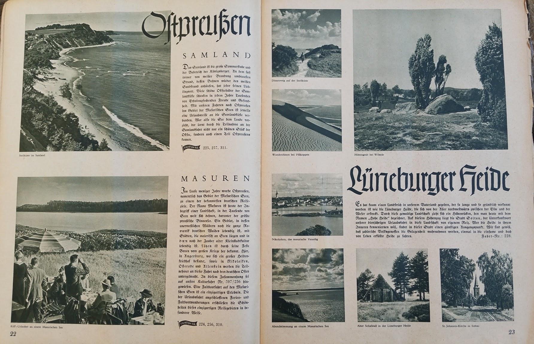 """Die Deutsche Arbeitsfront - Urlaubsfahrten 1939 - NS-Gemeinschaft """"Kraft durch Freude"""" Gau Sachsen - Katalog - Ostpreußen, Lüneburger Heide"""