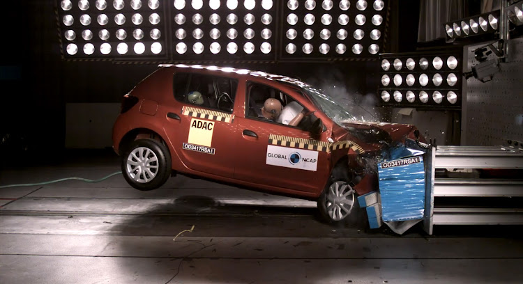 The Renault Sandero during the crash test.