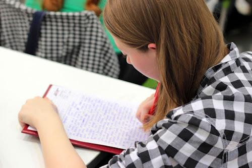 Chica joven estudiando