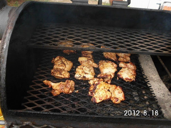 Grill chicken and veggies seperate till done.  Slice chicken thinly.