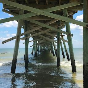 Under the boardwalk by Ashley Ellis - Buildings & Architecture Bridges & Suspended Structures ( waves, pier, ocean, daylight, boardwalk, water )