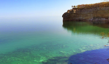 Photo: Lake Superior was incredibly placid this morning as well as wonderfully colorful as we hiked towards Indian Head.