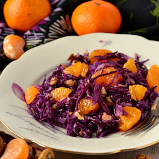 Vegan Red Cabbage, Orange, and Walnut Salad.