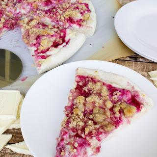 White Chocolate Raspberry Cheesecake Dessert Pizza