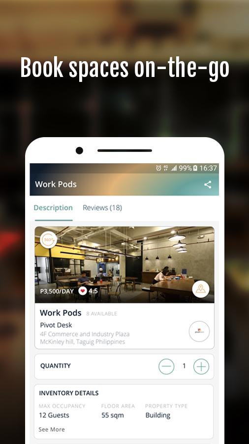 GoSPCE: Shared Work Space & Shared Play Space App- screenshot