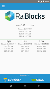 RaiBlocks Price Tracker - náhled