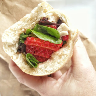 Strawberry and Feta Stuffed Ciabatta Sandwich.