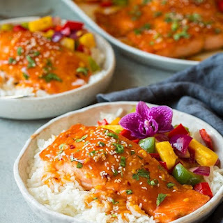 Pan Seared Salmon with Sweet and Sour Sauce.