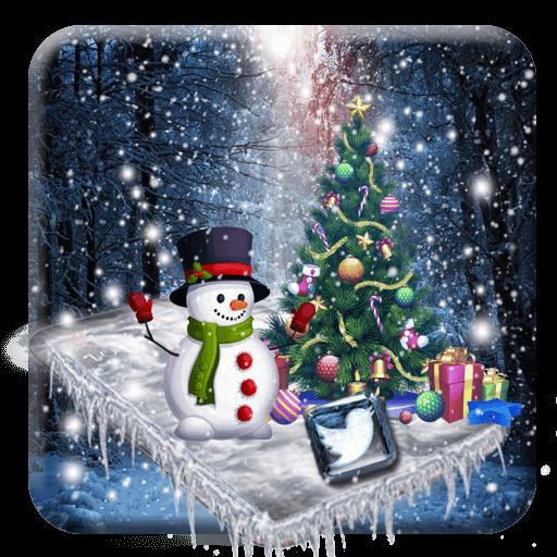 3d glass tech snowfall theme