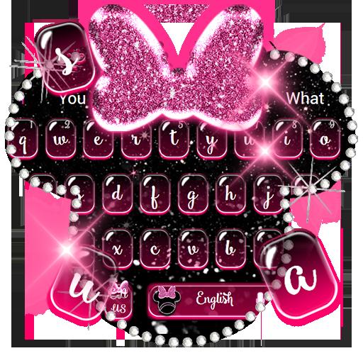 Pink Diamond Mouse Glitter Bow Keyboard Theme