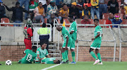 Ndumiso Mabena of Bloemfontein Celtic celebrates goal with teammates during the Absa Premiership match against Kaizer Chiefs at the Peter Mokaba Stadium in Polokwane on the April 27 2019.