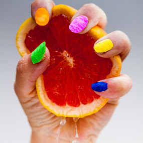 Tissue Paper Crush by Brett Florence - Food & Drink Fruits & Vegetables ( hand, colour, fruit, squeeze, crush, pwcfruit, paper, fingernails, tissue )