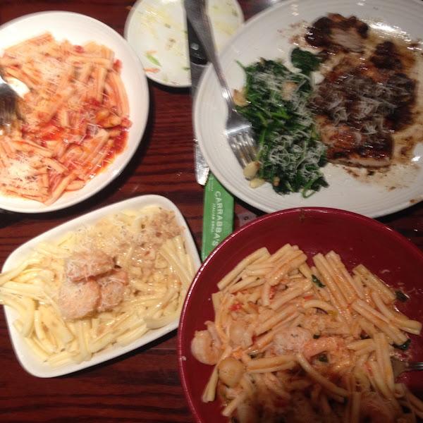 GF pasta sub and chicken marsala and shrimp scampi.