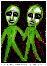 Photo: Little Green Men. (sold) 5 1/8 x 7 1/8 in. Acrylic paint and marker on cardstock. Signed on the front; title and signature on the back. Sold to a collector in Washington. ©Marisol McKee