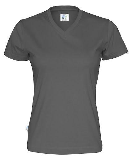 V-ringad dam t-shirt med 100% ekologisk Fairtrade bomull