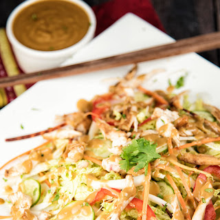 Chicken and Cabbage Salad With Almond Butter Dressing.