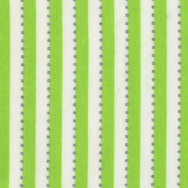 Limegrönt Randigt tyg med silverprickar (16520)
