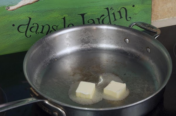 In the skillet add the butter, and melt over medium heat, until the foaming...